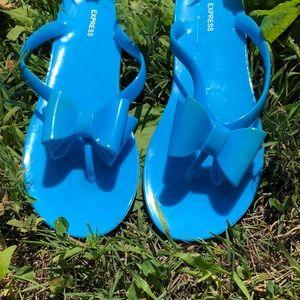fdb6edd8cb15f1 Express Shoes - Super cute blue bow jelly flip flops